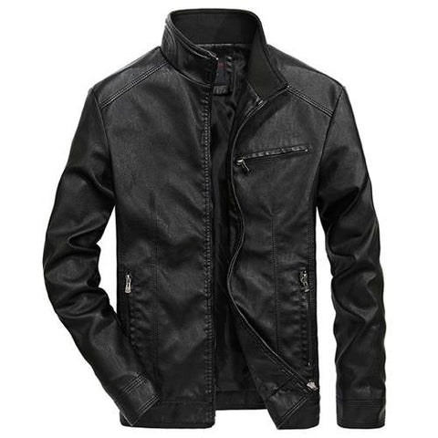 PU Leather Slim-Fit Motorcycle Jacket
