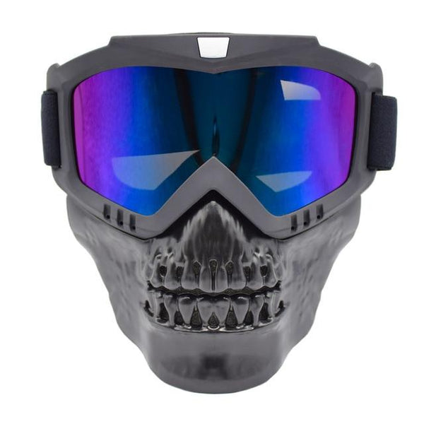 Skull Face Motorcycle Goggles and Mask