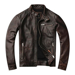 Classic Moto Style Genuine Leather Jacket.