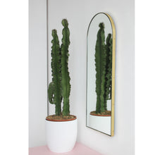 Silver Arcus Narrow Mirror™ with a brass frame