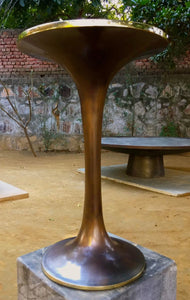 Handmade Cast Brass Tulip Side Table with Bronze Patina