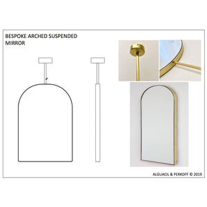 Arcus™ Suspended Arch shaped Bathroom Modern Mirror with a Brushed Brass Frame