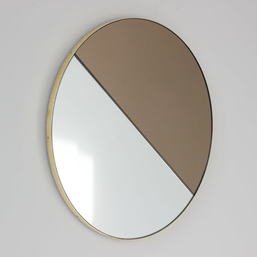 Orbis Dualis™ Mixed Tint (Silver + Bronze) Contemporary Round Mirror with Brass Frame