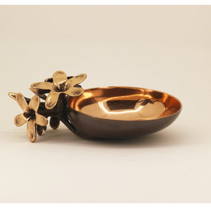 Handmade Cast Bronze Bowl with Flowers, Vide-Poche