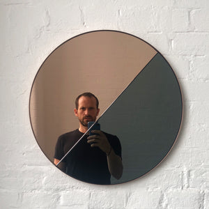 Mixed Tint Dualis Orbis™ round mirror with copper frame