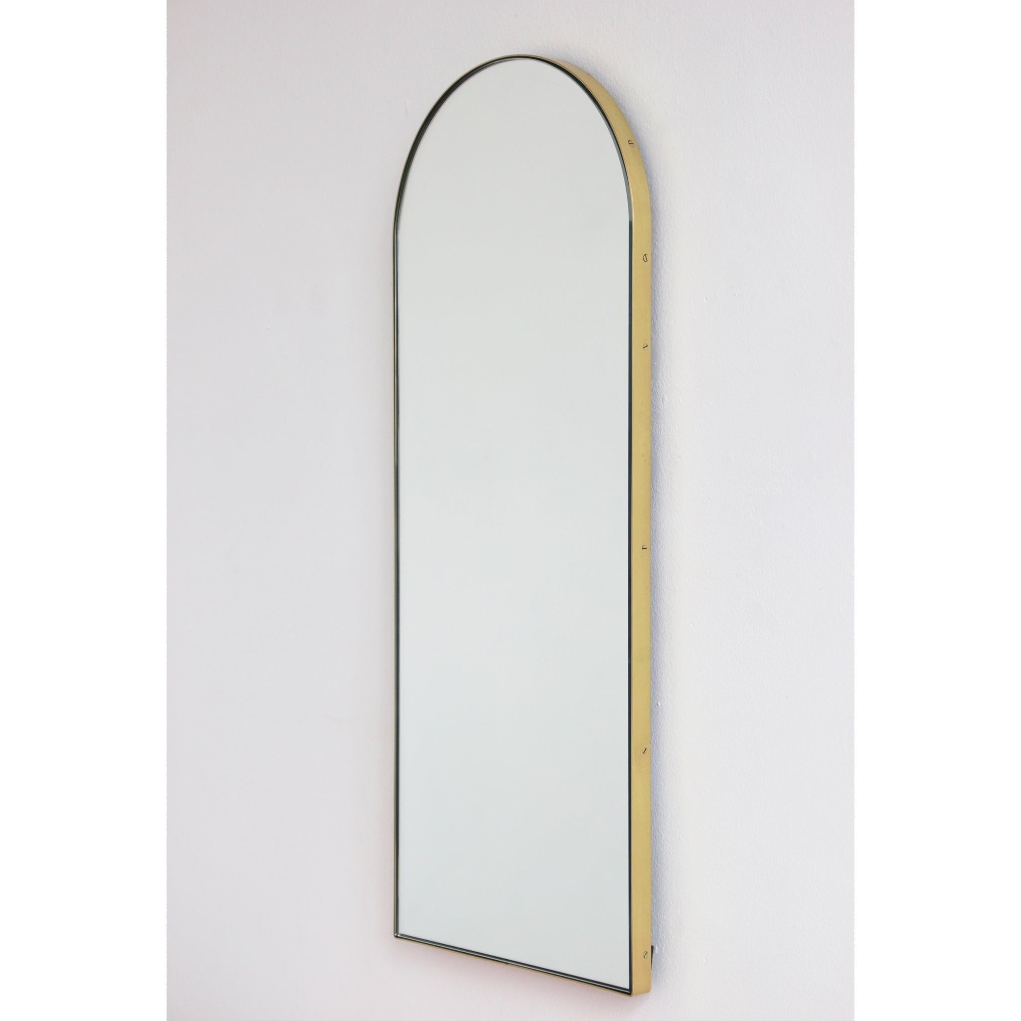Arcus Suspended Arch Shaped Bathroom Modern Mirror With A Brushed Bra Alguacil Perkoff