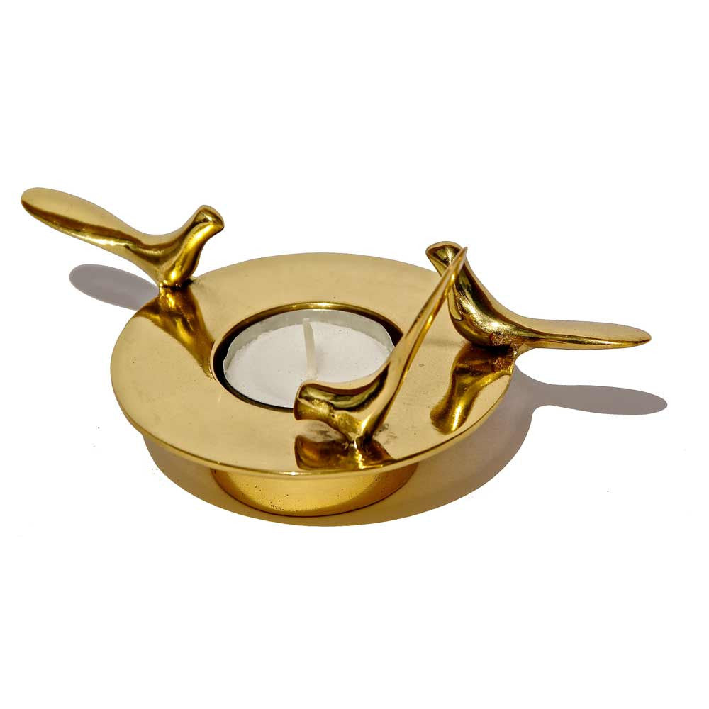 Brass tealight candle holder with 3 Birds