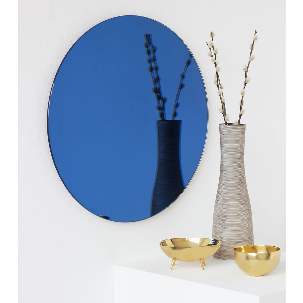 Blue Tinted Orbis™ Round Mirror Frameless