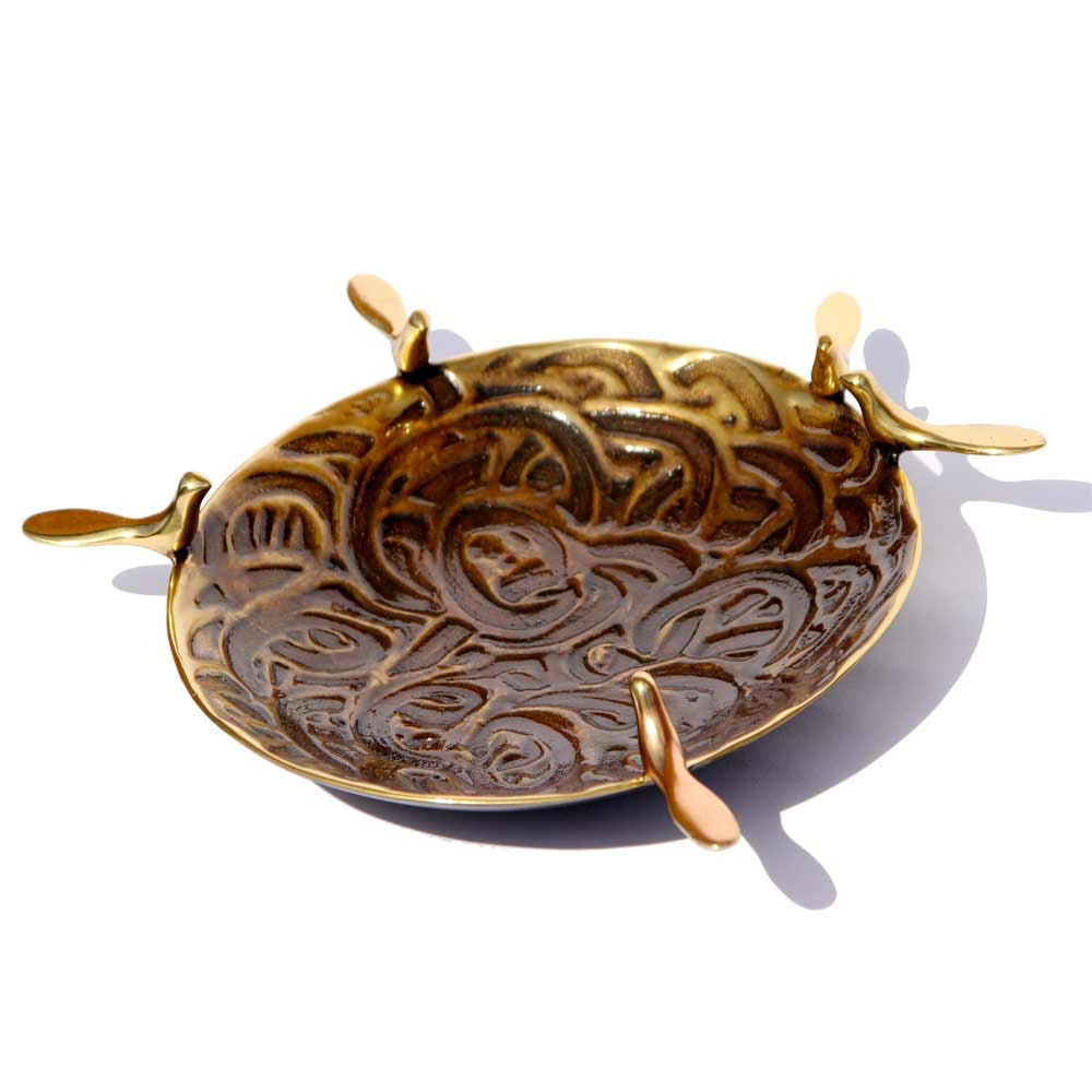 Handmade Cast Brass Dish Candle Holder with 5 Birds