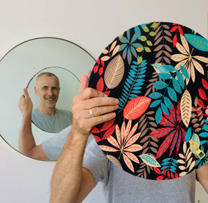 Orbis™ Round Mirror with a Stylish Hand-printed Floral Fabric Backing