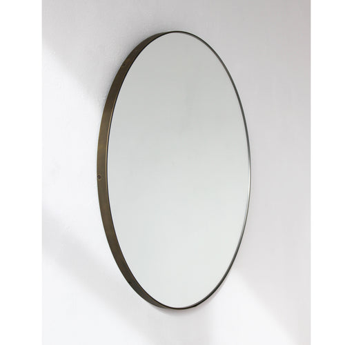 Orbis™ Round Elegant Customizable Mirror with a Bronze Patina Frame