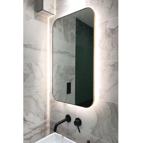 Rectangular Quadris™ Back Illuminated Mirror with brushed brass frame
