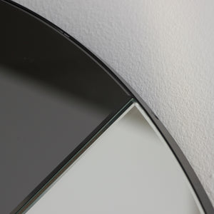 Orbis Dualis™ Mixed Tint (Black + Silver) Contemporary Round Mirror with Black Frame