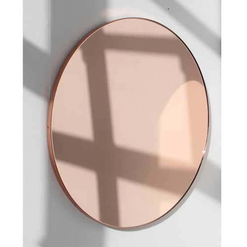 Orbis™ Rose gold / Peach Tinted Modern Bespoke Round Mirror with a Copper Frame