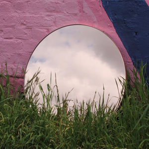 Rose Gold / Peach Tinted Orbis™ Round Mirror with a COPPER frame
