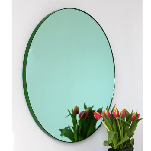 Green Tinted Orbis™ round mirror with GREEN frame