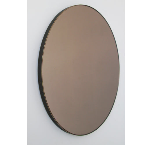 Orbis™ Bronze Tinted Round Contemporary Mirror with a Bronze Patina Brass Frame