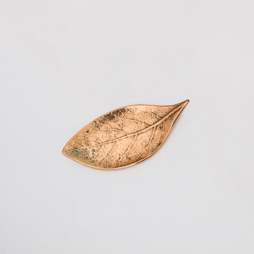 Candle Holder Decorative Handmade Cast Bronze Leaf - small