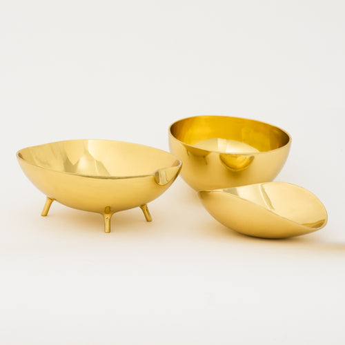 Set of three Polished Brass Bowls