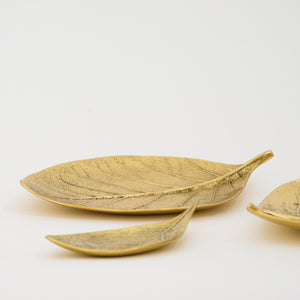 Brass Cast Leaf Tray Candle holder - Large