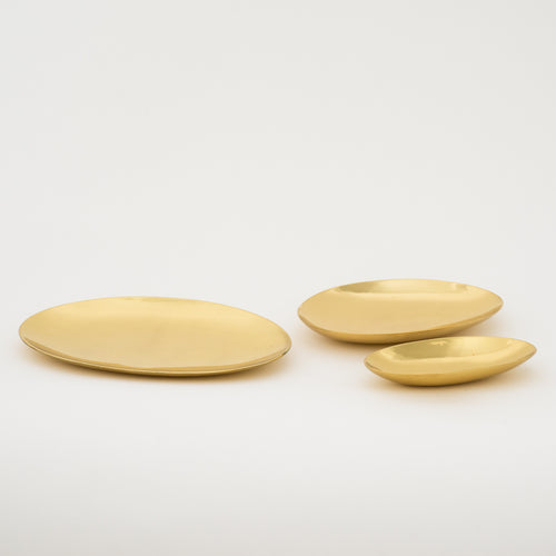 set of 3 Hand-crafted Polished Brass Plates