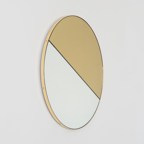 Orbis Dualis™ Mixed Tint (Gold + Silver) Contemporary Round Mirror with Brass Frame