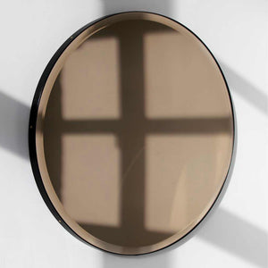 Orbis™ Bevelled Bronze Tinted Decorative Bespoke Round Mirror with a Black Metal Frame