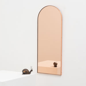 Arcus™ Arch shaped Rose Gold Contemporary Mirror with a Copper Frame