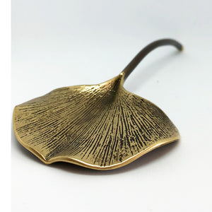 Gingko Brass Leaf paperweight