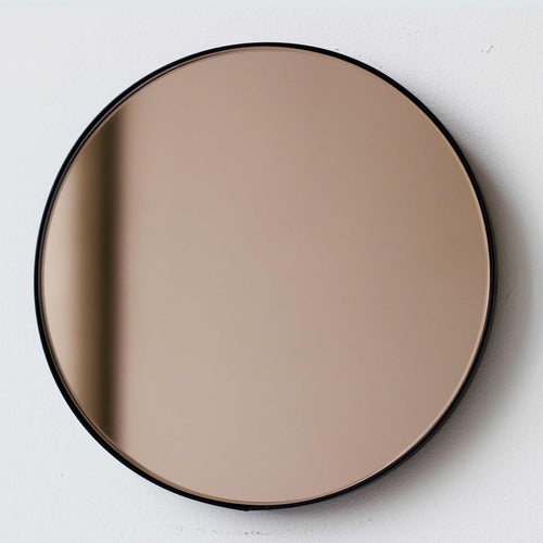 Bronze Tinted Orbis round mirror™ with BLACK frame