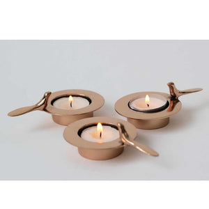 Set of Three One Bird Bronze Tea Light Holders