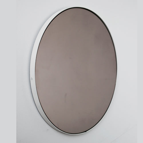 Orbis™ Round Bronze Tinted Mirror with White Frame