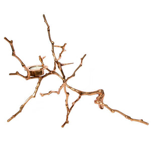 Bronze Cast Magnolia Twig Tealight Candle Holder Polished - Tall