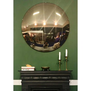 Orbis™ Round Convex Bronze Tinted Frameless Mirror with Brass Clips - Large