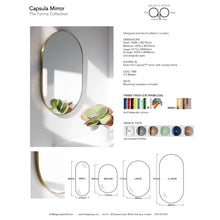 Orbis™ Capsula Suspended Bathroom Silver Mirror with a brushed brass frame