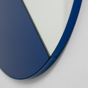 Orbis Dualis™ Mixed Tint (Blue + Silver) Contemporary Round Mirror with Blue Frame
