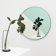 Orbis Dualis™ Mixed Tint (Green + Silver) Round Mirror with Green Frame