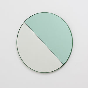 Orbis Dualis™ Mixed Tint (Green + Silver) Circular Mirror with Green Frame