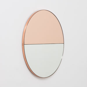 Orbis Dualis™ Mixed Tint (Rose Gold + Silver) Contemporary Round Mirror with Copper Frame