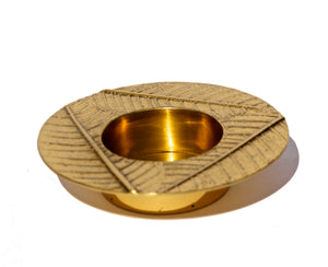 Brass Leaf tealight candle holder
