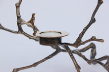 Bronze Cast Magnolia Twig Tealight Holder With Light Patina - Tall