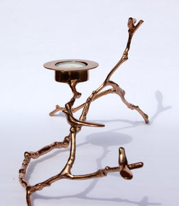 Bronze Magnolia Twig Tealight Candle Holder - Long