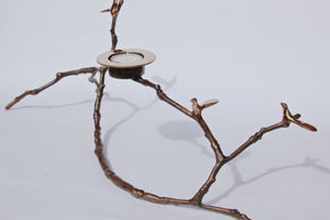Light Patina Magnolia Twig Candle Holder