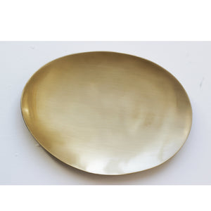 Large Hand Crafted Brushed Brass Plate