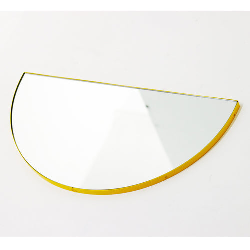 Silver Luna Orbis Half Circle Round Mirror™ with a Yellow frame