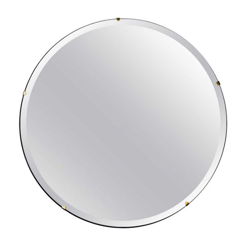 Beveled Silver Orbis™ Round Mirror Frameless with Brass Clips