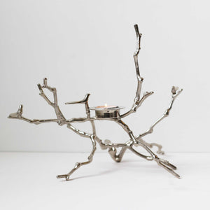 Nickel Plated Cast Magnolia Twig T-Light Holder Polished - Tall