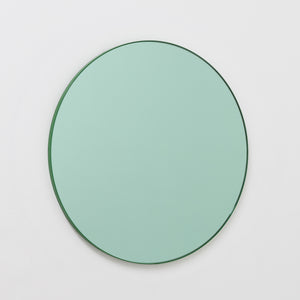 Orbis™ Contemporary Round Green Tinted Mirror with Green Frame