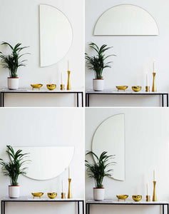 Silver Luna Orbis Half Circle Round Mirror™ (1 piece) Frameless
