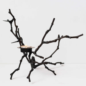 Bronze Cast Magnolia Twig Tealight Candle Holder With Dark Patina - Tall
